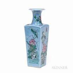 Four-sided Enameled Blue-ground Vase