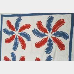 Cotton Applique Princess Feather Quilt