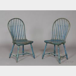 Pair of Windsor Bow-back Blue-painted Side Chairs