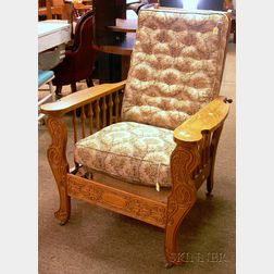 Art Nouveau Carved Oak Spindle-side Adjustable-back Morris Chair with Upholstered Back and Seat Cushion.