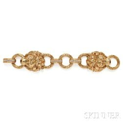 18kt Gold and Diamond Lion Head Bracelet, Van Cleef & Arpels