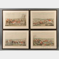Thomas Fielding (British, 1758-1820), After Henry Alken (British, 1785-1851), Four Engravings of the Stages of the Fox Hunt, Leicesters