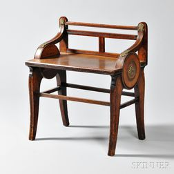Regency-style Oak Hall Seat