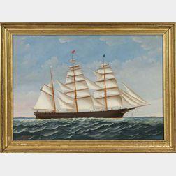 Charles Sidney Raleigh (Massachusetts, 1830-1925)      Portrait of the Bark Gerard C. Tobey