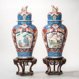 Pair of Imari Lidded Temple Jars