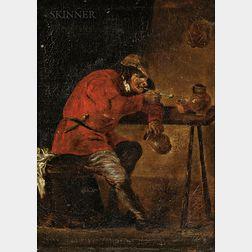 Manner of David Teniers (Dutch, 1610-1690)      Man Smoking in a Tavern