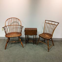 Two Windsor Chairs and a Diminutive William and Mary-style Gate-leg Table