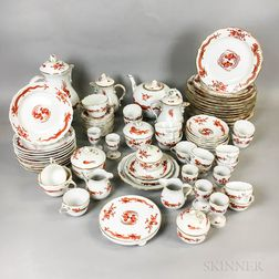 Seventy-seven Pieces of Meissen Sepia Dragon and Bird Porcelain Tableware.     Estimate $600-800