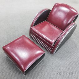 Donald Deskey Armchair and Footstool