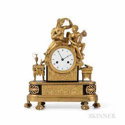 Fire Gilt Figural Clock