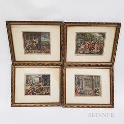Four Framed Hand-colored Engravings of Biblical Scenes