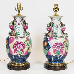 Pair of Chinese Export-style Porcelain Vases