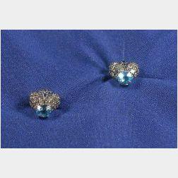 18kt White Gold and Gem-set Stud Earrings