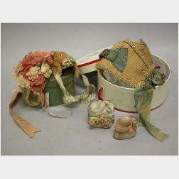 Lot of Five Early Doll Bonnets