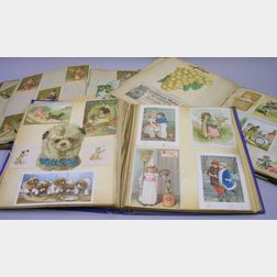 Three 19th Century Albums of Chromolithograph Trade Cards, Greeting Cards, Die-Cuts, and Scraps.