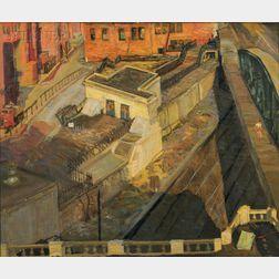 William Millett (American, 1922-2007)      Urban View / View from the Artist's Studio, Fenway Studios, Boston