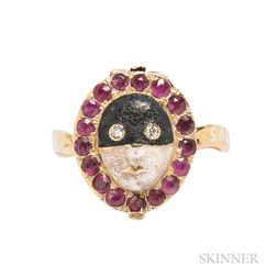 Antique Gold and Enamel Carnival Mask Ring