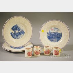 Set of Four Wedgwood Embossed Queens Ware St. Marks School Dinner Plates and a Set of Four Harvard University Tercentenary Demitas...