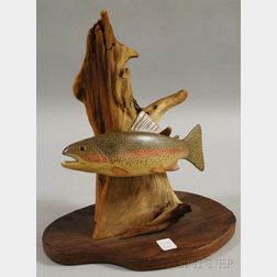 C. Hopkins Carved and Painted Wood Rainbow Trout Figural Group