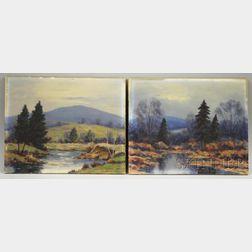 Francis Stillwell Dixon (American, 1879-1967)      Two Autumn Landscapes.