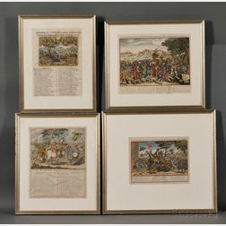 Satirical Cartoons, Dutch, Concerning Economic Bubbles, c. 1720, Eight Framed.