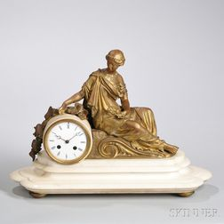 French Gilt and Marble Figural Clock
