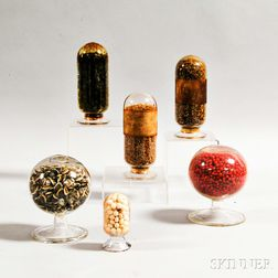 Six Colorless Glass Apothecary Jars