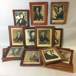 Seventeen Framed Currier and Kellogg Presidential Portrait Lithographs