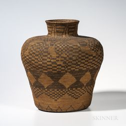 Large Apache Polychrome Basketry Olla
