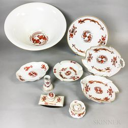 Nine Pieces of Meissen Sepia Dragon and Bird Porcelain Tableware