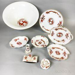 Nine Pieces of Meissen Sepia Dragon and Bird Porcelain Tableware