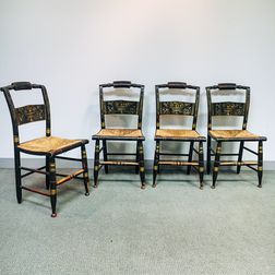 Four Painted and Stenciled Hitchcock Side Chairs