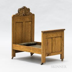 Rococo Revival Carved Oak Doll Bed