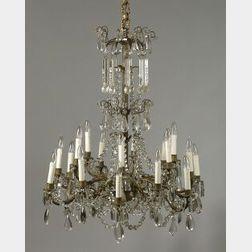 Louis XVI-style Brass and Crystal Eighteen Light Chandelier