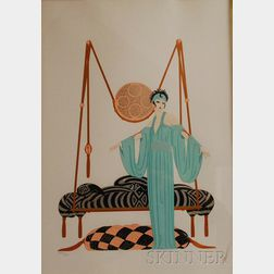 Romain (Erte) De Tirtoff  (Russian/American, 1892-1990)      Pillow Swing