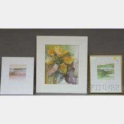 Denise Schwander (Swiss, b. 1945)      Three Works:  Landscape, Poinsettia,