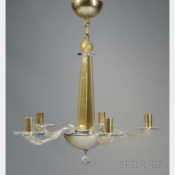 Modern Italian Gold Fleck Art Glass and Crystal Five-arm Chandelier