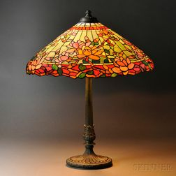 Mosaic Glass Magnolia Table Lamp Attributed to Wilkinson