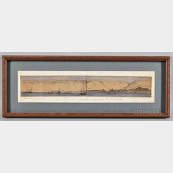 """Watercolor and Pen Drawing  """"The Sea port and Town of Payta [sic"""