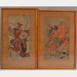 Two Tan-e   Woodblock Prints Depicting Warriors