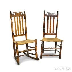 Two Maple Bannister-back Side Chairs