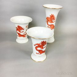 Three Meissen Sepia Dragon Porcelain Vases