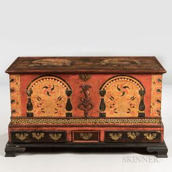Paint-decorated and Carved Poplar Dower Chest