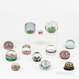 Thirteen Art Glass Paperweights