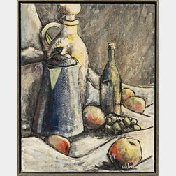 American School, 20th Century      Still Life with Bottles and Fruit.