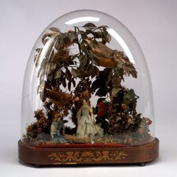 Diorama in an Oval Glass Dome