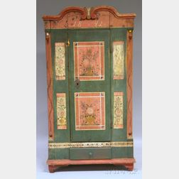 Northern European Polychrome Paint-decorated Pine Armoire