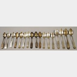 Seventeen Coin and Silver Spoons