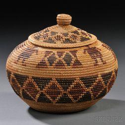 Yokuts Pictorial Lidded Basket