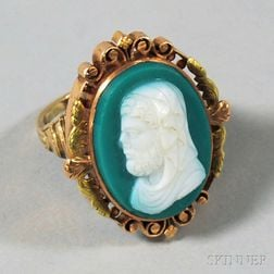 14kt Gold and Green Hardstone Cameo Ring